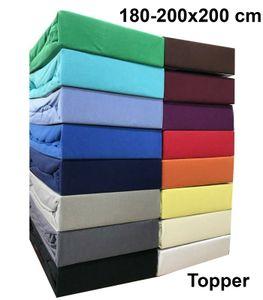 Jersey Topper Spannbettlaken 180-200x200 cm Spannbettuch 100% Baumwolle Bettlaken, Grau