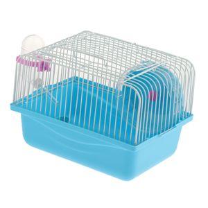 Hamsterkäfig Mäusekäfig Nagerkäfig mit Laufrad, Fressnapf und Trinkflasche Farbe Blau
