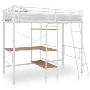 [BESTSELLER]Etagenbett Kinderbett 90x200cm |Hochbett Metallbett Bett Stockbett Bettgestell Doppelstockbett mit Tischrahmen Weiß Metall 90x200 cm Größe:210 x 97,5 x 186 cm©8047