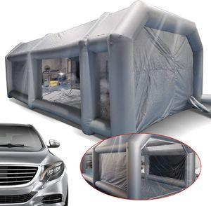 26x15x10FT Aufblasbare Zeltlager Spritzkabine Zelt Luftzelt Partyzelt Campingzelt Transparentes Fenster mit Zwei Luftfiltersystem