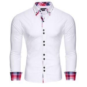 Reslad Herren Hemd Button-Down Slim Fit Kontrast Langarmhemd RS-7015 Weiß L