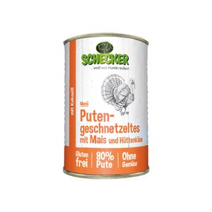 Schecker Hundemenü 6 x 410g Putengeschnetzeltes mit Mais Hüttenkäse Kokosöl Glutenfrei Hergestellt in Deutschland