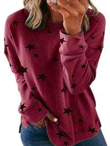 Frauen Plus Size Casual Sweatshirt Damen Star Print Pullover Pullover T-Shirt Tops Blusen,Farbe:Rotwein,Größe:3XL
