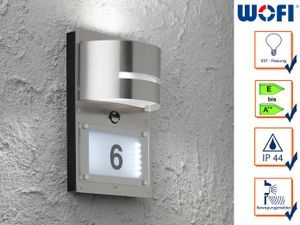 Edelstahl Hausnummernleuchte mit Bewegungsmelder E27, Wandleuchte
