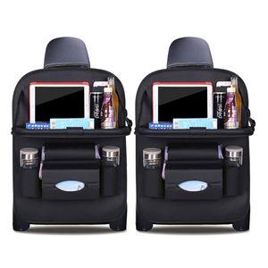 Auto Organizer Rückenlehnenschutz Autositzschutz aus Kunstleder mit faltbarem Tablethalter wasserdicht Tasche für Kinder (Schwarz  - 2 Pack)