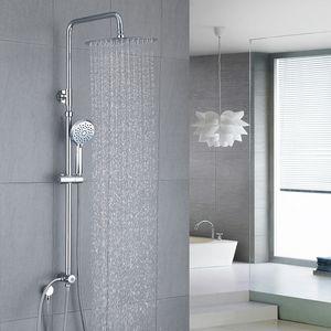 Duschsystem ohne Armatur Kopfbrause aus 304 Edelstahl inkl. verstellbare Duschstange Handbrause Dusche Regendusche für Badezimmer