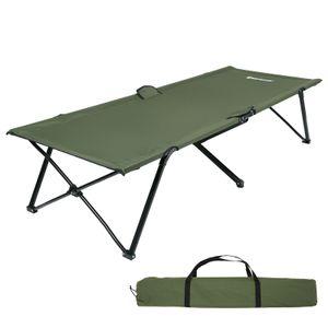 SONGMICS Campingbett armeegrün Oxford-Gewebe XL 206 x 75 x 45 cm bis 260 kg belastbar Feldbett Stahl Gartenliege Sonnenliege GCB25J