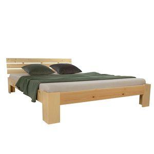 Homestyle4u 1838, Holzbett 160x200, Doppelbett mit Lattenrost, Natur, Kiefer Massivholz