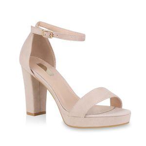 Mytrendshoe Damen Riemchensandaletten Plateau Sandaletten Party Schuhe Elegant 824638, Farbe: Creme, Größe: 37