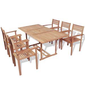 Gartenmöbel Essgruppe 6 Personen ,7-TLG. Terrassenmöbel Balkonset Sitzgruppe: Tisch mit 6 Stühle, Teak Massivholz❀9090