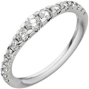 JOBO Damen Ring 56mm 585 Gold Weißgold 15 Diamanten Brillanten Weißgoldring Diamantring