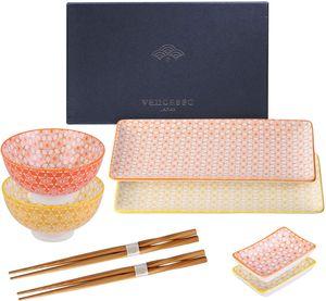 Vancasso Sushi Set, Natsuki 8-teilig Bunte Sushi Teller, Porzellan Japanische Essservice für 2 Personen, Beinhaltet Sushi Teller, Schalen, Soßenschälchen und Essstäbchen
