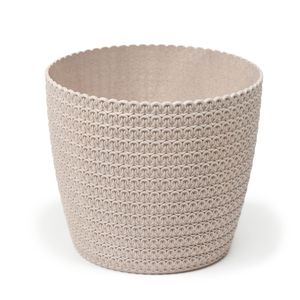 Übertopf Hildegard Eco aus Holzkunststoff Blumentopf in Häkeloptik, Durchmesser:26 cm, Farbe:Creme