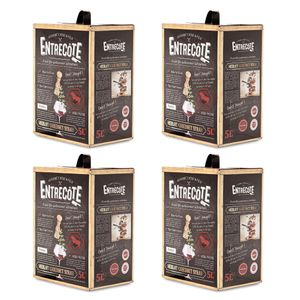 Bag-in-Box - 2019 Merlot Cabernet Syrah - ENTRECOTE Rotwein 5 L., Box mit:4 Boxen