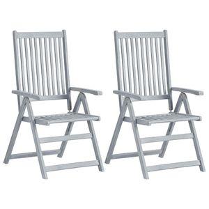 vidaXL Verstellbare Gartenstühle 2 Stk. Grau Massivholz Akazie