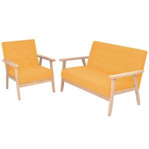 vidaXL Sofa-Set 2-tlg. Stoff Gelb