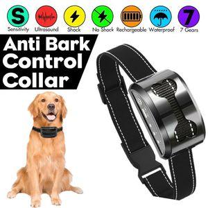 1x Anti-Bell Wiederaufladbares Hundetraining Halsband Anti-Bark Safe Antibell Hundetrainer Ton Vibration ohne Schock