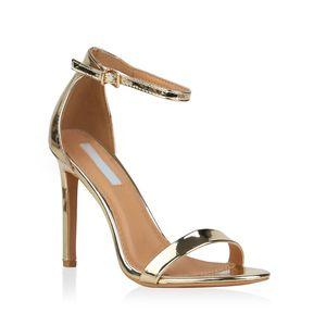 Mytrendshoe Damen Sandaletten Riemchensandaletten High Heels Sommer Schuhe 821192, Farbe: Gold, Größe: 38