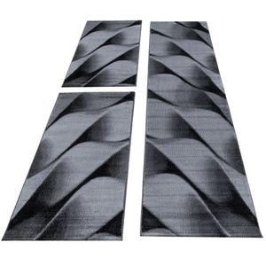 Kurzflor Schlafzimmer Teppich Bettumrandung Wellen Schattenoptik Schwarz Grau, Farbe:Schwarz, Bettset:2 mal 80x150 cm + 1 mal 80x300 cm