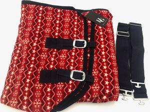 Horse Guard Weihnachten Abschwitzdecke Pferdedecke Stalldecke rot versch. Größen, Größe:135 cm