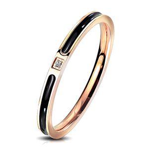 viva-adorno Gr. 60 (19,1 mm Ø) Edelstahl Ring Damen Ring Verlobungsring Rosegold Schwarz emailliert Zirkonia,RS57em,