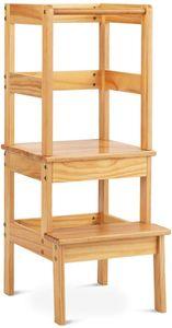 Lernturm Kinder Schemel aus Holz, Küchenhelfer Lernstuhl, Stehhocker 36 x 42 x 90 cm, Helferturm bis 70 kg belastbar, Montessori Küchenhelfer für Kinder, für Küche Badezimmer (Natur)