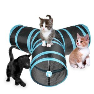 Katzentunnel Katzen Kätzchen Spielzeug zusammenklappbar Spieltunnel 3 Wege Faltbar Tunnel Katzenspielzeug Katze