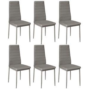 Esszimmerstühle 6er-set. | Küchenstuhl - Hochlehner Sitzgruppe | Kunstleder | Grau