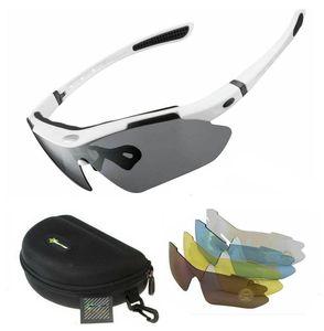 ROCKBROS Fahrradbrille Polarisiert Sportbrille WEISS Sonnenbrille Brille UV400 + ETUI