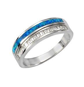 F Ring 925/- Sterling Silber weiß 058 (18,5) Opal blau 025270012