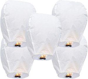 5 chinesische Himmelslaternen Biologisch abbaubare umweltfreundliche flammhemmende Papierlaternen für Sky Release (5 Sätze, weiß)