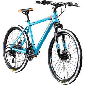 Galano Toxic 26 Zoll Fahrrad Mountainbike Hardtail mountainbiken MTB 21 Gang biken Rad Mountain Bike mit Federung, Farbe:blau/orange, Rahmengröße:46 cm