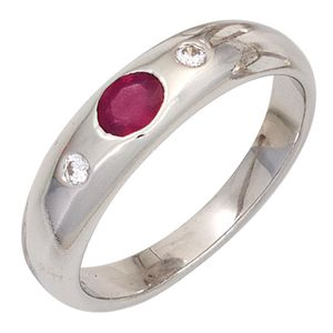 JOBO Damen Ring 925 Sterling Silber rhodiniert 1 Rubin rot 2 Zirkonia Silberring Größe 60