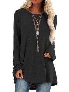 Damen Einfarbiges, langärmeliges, lockeres T-Shirt-Oberteil mit rundem Halsausschnitt,Farbe: schwarz,Größe:XL