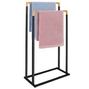 Stand Handtuchständer Handtuchhalter Handtuchstange ohne bohren Bad Badezimmer - Schwarz