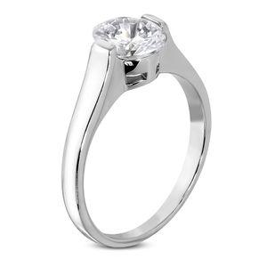 Verlobungsring Zirkonia Stein Damen-Ring Solitär-Ring Edelstahl Autiga® silber 51 - Ø 16,20 mm