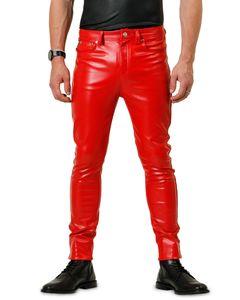 Bockle® F-Skinny Red  Lederhose Leder Jeans Tube Röhre Skinny Slim Fit Herren Rot Kunstlederhose, W31/L32