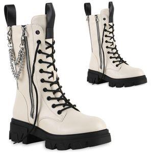 VAN HILL Damen Stiefel Plateaustiefel Zipper Schnürer Ketten Schuhe 837727, Farbe: Beige, Größe: 38