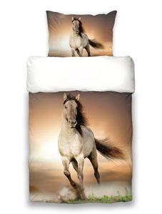 Bettwäsche Pferde Digitaldruck Pferdebettwäsche  Wildpferde Mustang Baumwolle 135x200