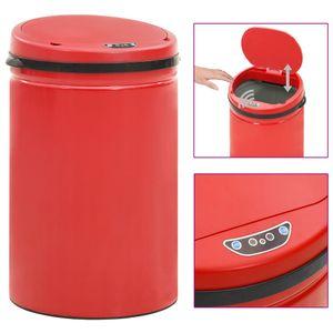 vidaXL Automatischer Sensor-Mülleimer 30 L Kohlenstoffstahl Rot