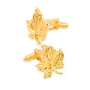 1 Paar Manschettenknöpfe Blätter Stil für Männer Hemd Geschäfts - Geschenk Gold Manschettenknopf