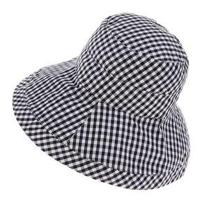 Faltbarer Eimerhut Bucket Hat Sonnenhut Fischerhut mit Schwarzweiss-Plaid Muster für Outdoor Aktivitäten