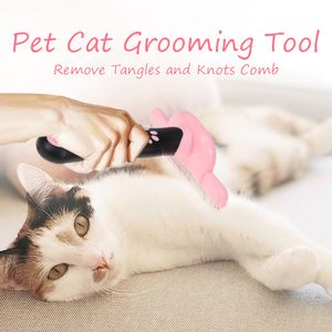 Pet Cat Grooming Tool Entfernen Sie Verwicklungen und Knoten Kamm Anti-Rutsch-Griff Shedding Bürsten für Katzen[Rosa]