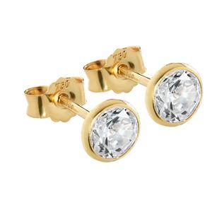 Paar 5,3mm Ohrstecker Gelbgold 750 Gold Ohrringe 18 Karat Zirkonia weiß 2626