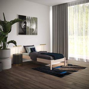 Holzbett 90x200 cm Kaja in Scandi Style aus hartem Birken Massivholz - über 700 kg Hypoallergen - Einzelbett Bettgestell Kinderbett Jugendbett Gästebett - mit Kopfteil