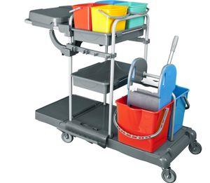 CleanSV® Deluxe Profi PE Reinigungswagen Putzwagen, mit Moppresse, 2 x 17 Liter Eimern, 4 x 5 Liter Eimer, 3 Ablagen, Müllsackhalter
