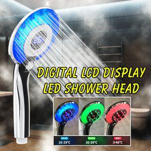 3 Farben LED Duschkopf Handbrause LCD Anzeige Digitale Duschköpfe mit Temperatur