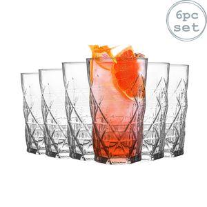 LAV 6 Stück Keops Art Deco Highball Gläser Set - Vintage Cut Glass Long Drink Cocktail Tumblers - 460ml