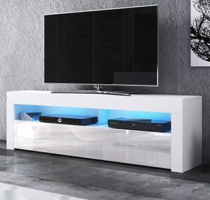 TV-Lowboard Live in Hochglanz weiß Board für Flat-TV inkl. LED Beleuchtung Fernseher Unterteil 140 x 50 cm