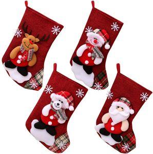 Nikolaussocken, 4er Set Weihnachsstrumpf Nikolausstiefel Nikolausstrumpf zum Befüllen & Aufhängen Hängende Strümpfe Schneemann Weihnachtsmütze für Weihnachtsschmuck Weihnachtsdeko,23 cm